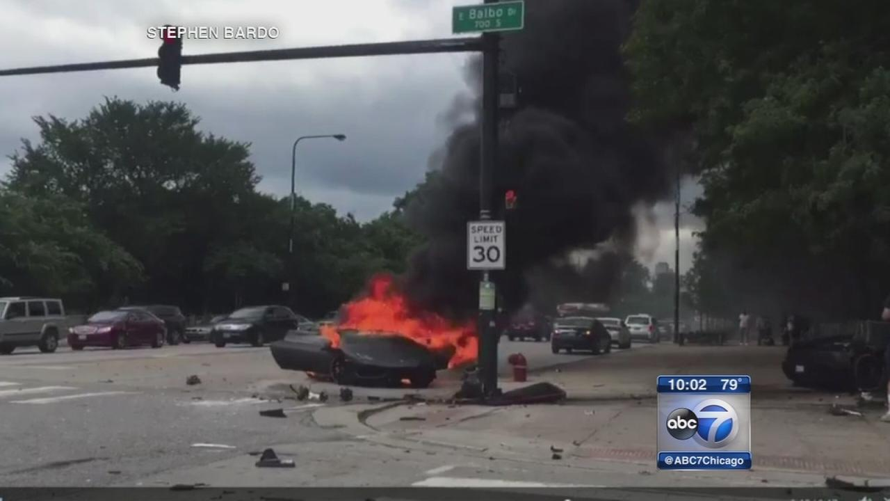Fiery car crash in Grant Park