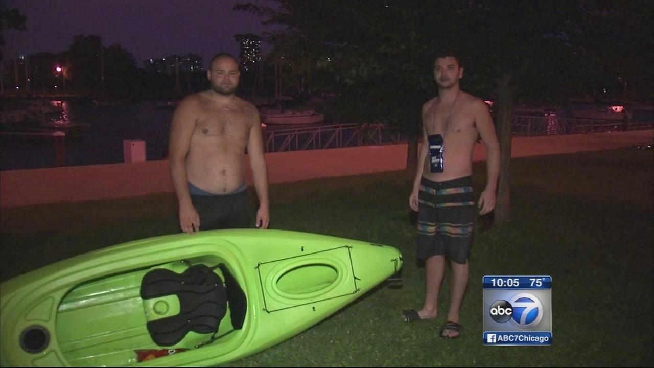 Kayakers rescued from Lake Michigan at Montrose Harbor