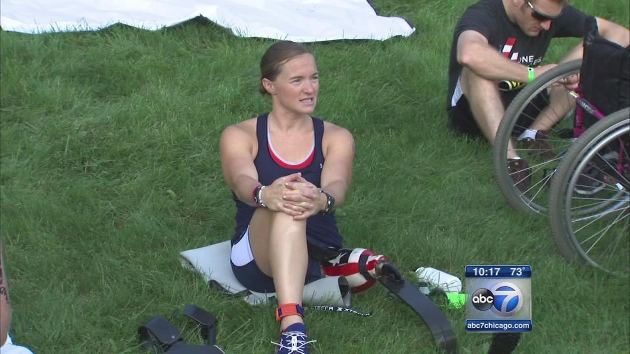 Injured veteran competes in triathlon