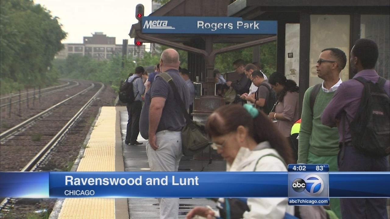 Lightning possibly hits Metra train