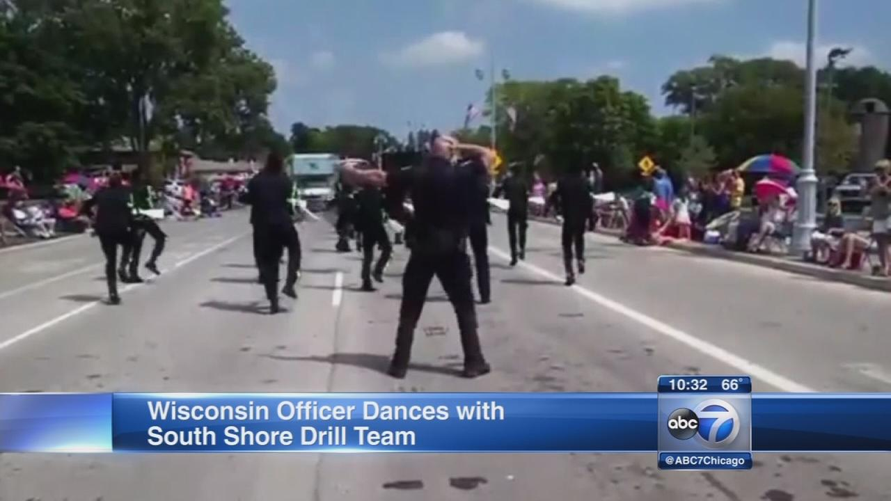 Wisconsin officer performs with South Shore Drill Team.