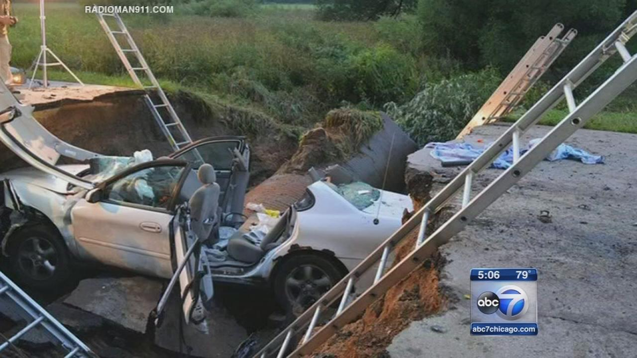 Car drives into sinkhole in Burlington