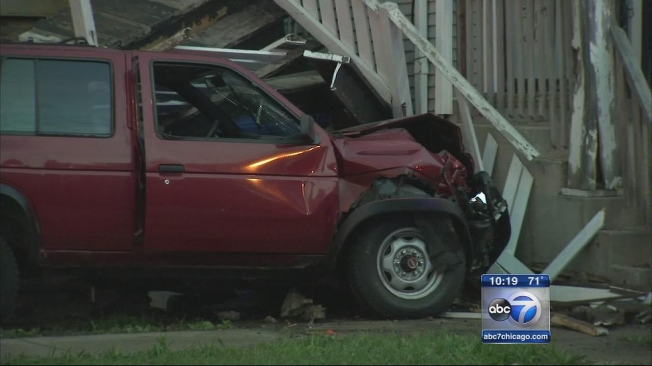 Girl, 11, critically injured when car crashes into Chatham porch