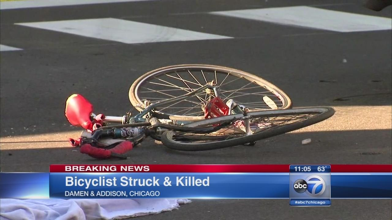 Bicyclist fatally hit by truck in North Center