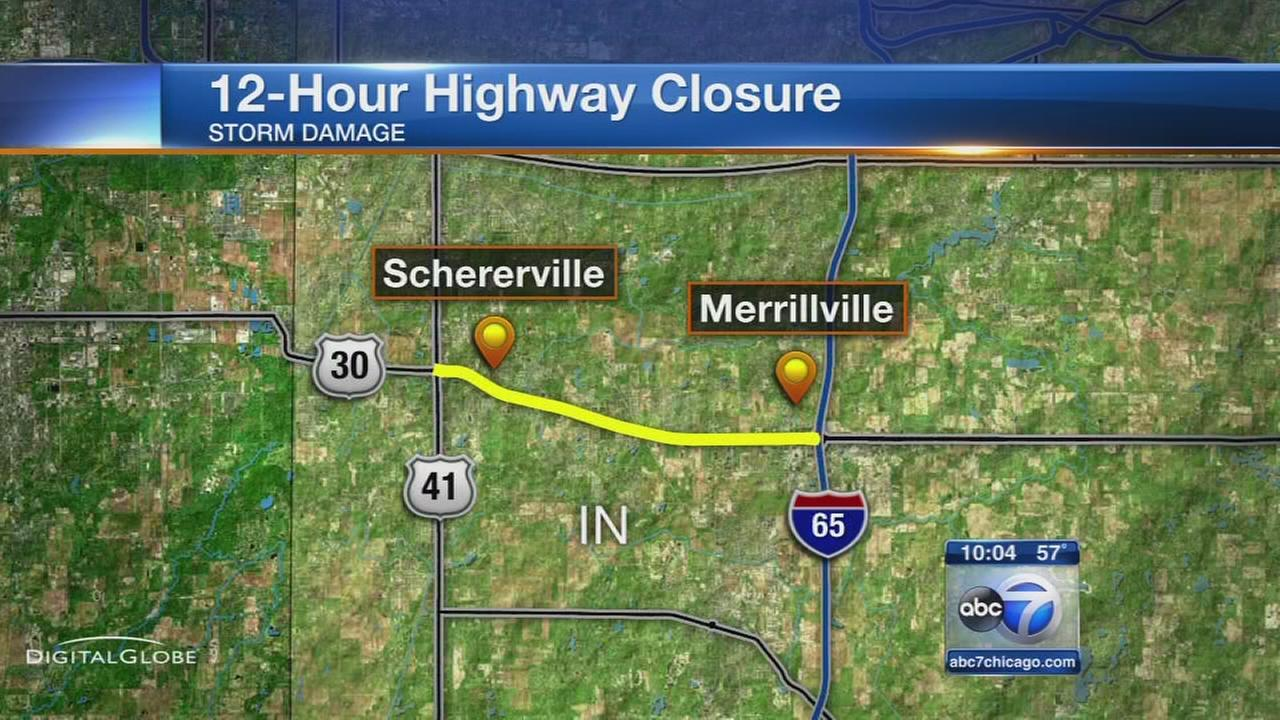 Storm cleanup closes US30 in NW Indiana