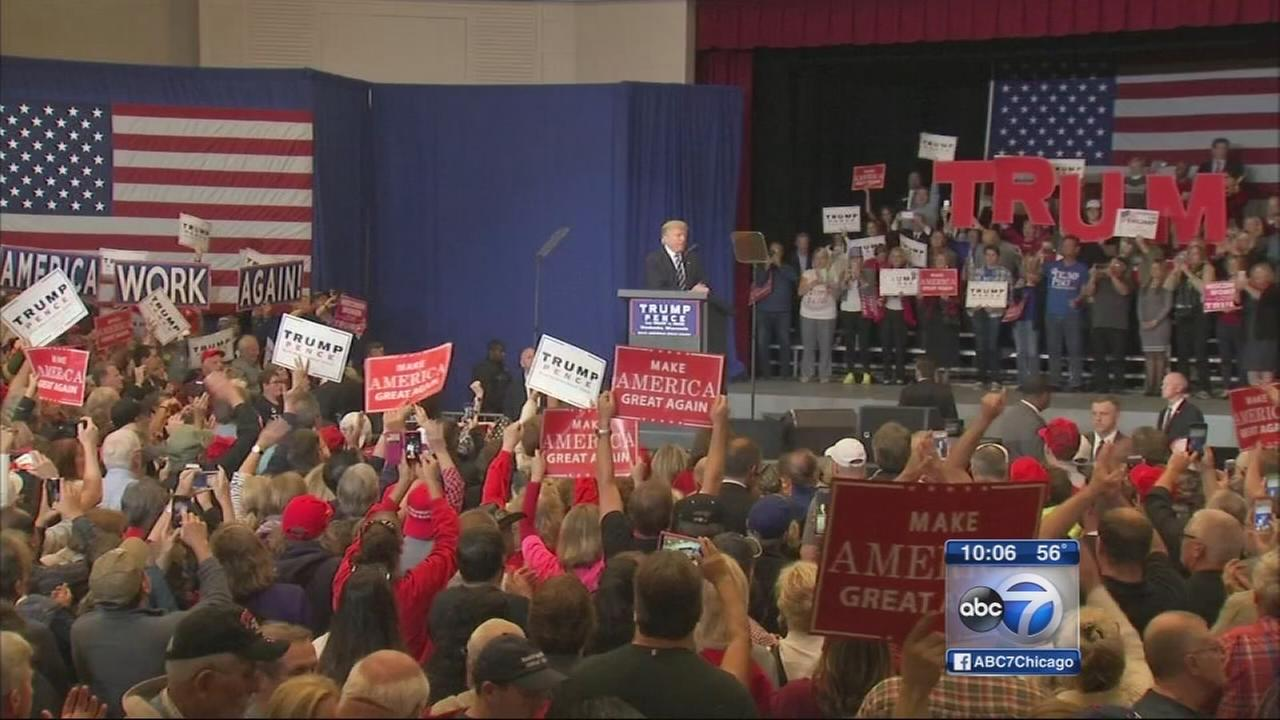 Trump campaigns in Illinois and Wisconsin