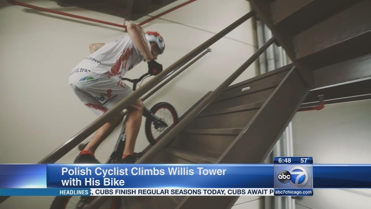 Polish man sets record climbing steps of Willis Tower on his bike