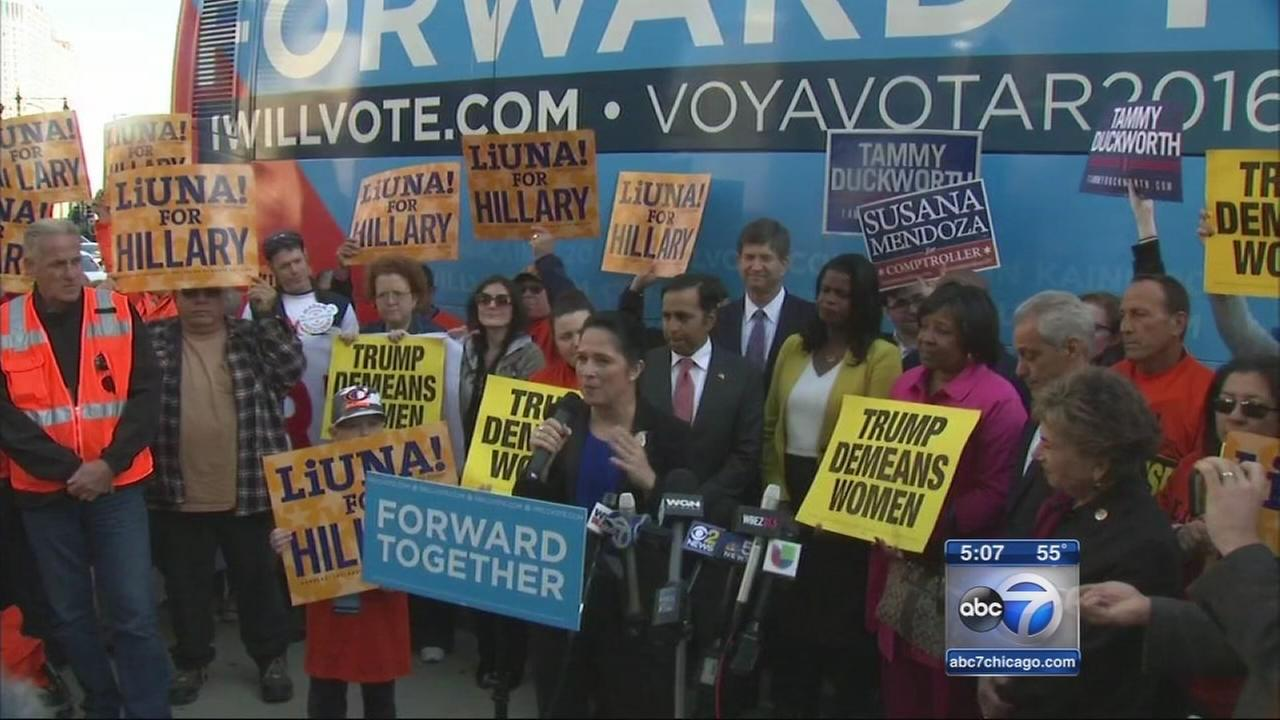 Chicago Democrats gather outside Trump Tower to denounce Trump