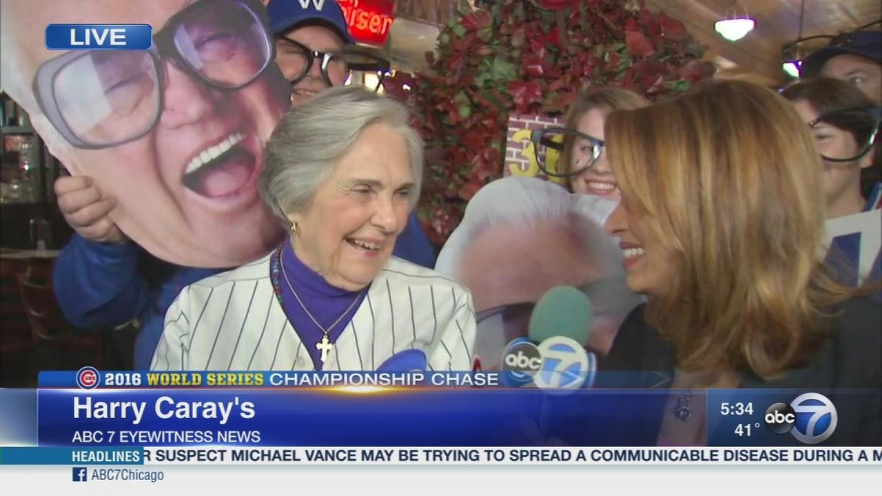 Dutchie Caray celebrates with fans