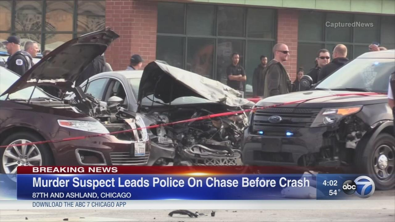 5 injured in crash after police chase murder suspect