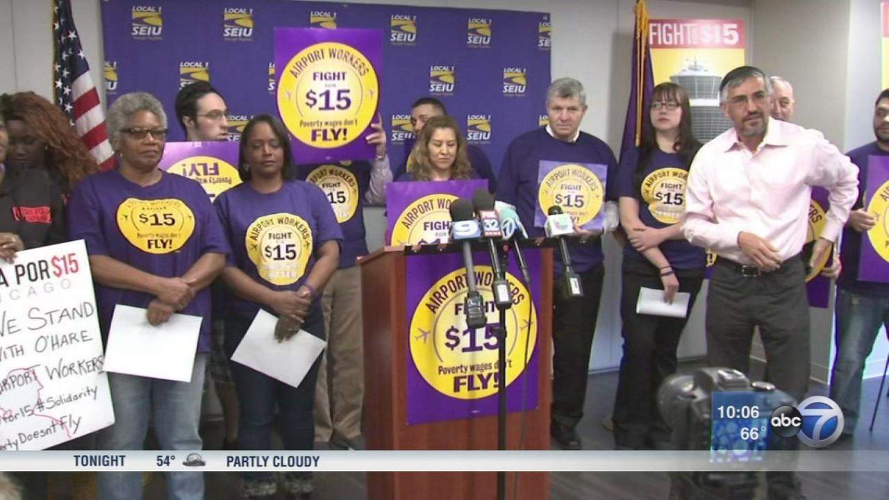 OHare airport workers threaten to strike