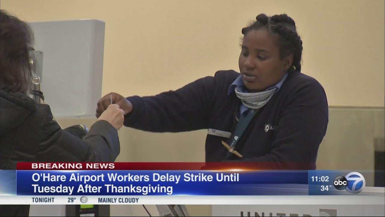 O?Hare workers set strike date for Tuesday after Thanksgiving