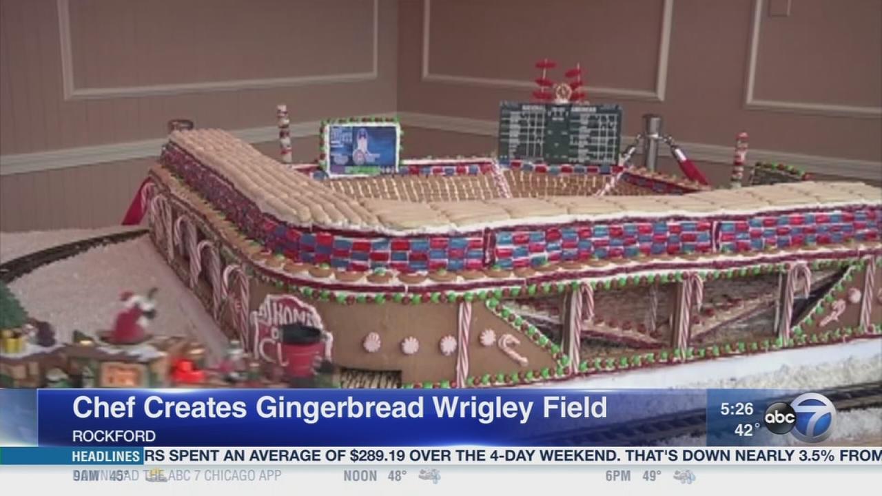 Rockford chef creats gingerbread Wrigley Field