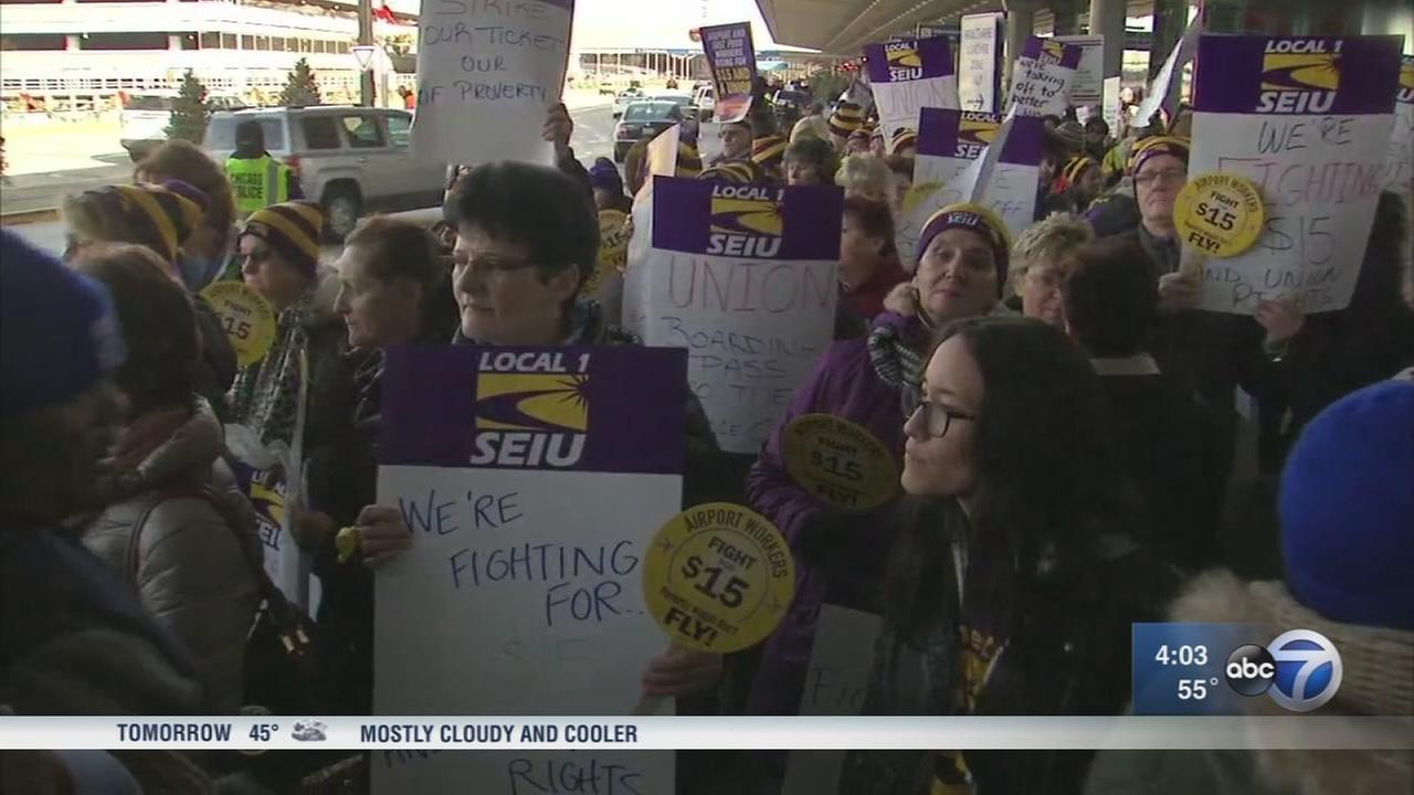 OHare workers strike for higher wages