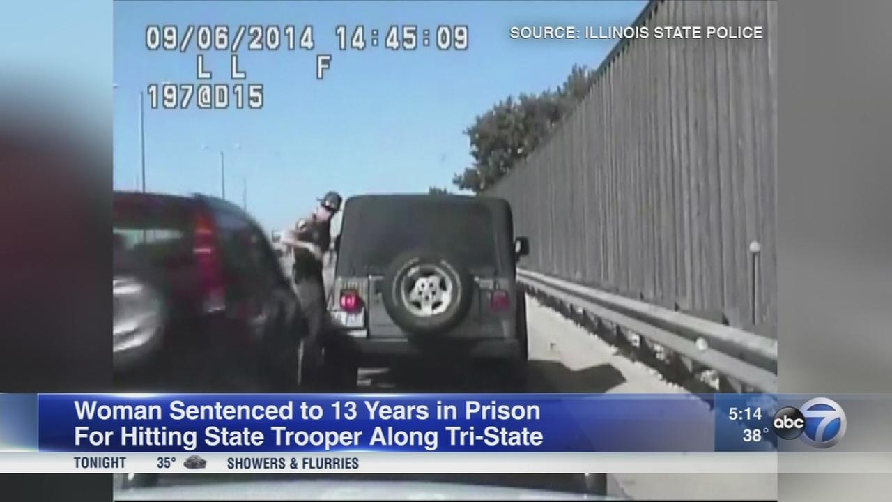 Woman sentenced to 13 years for hitting state trooper