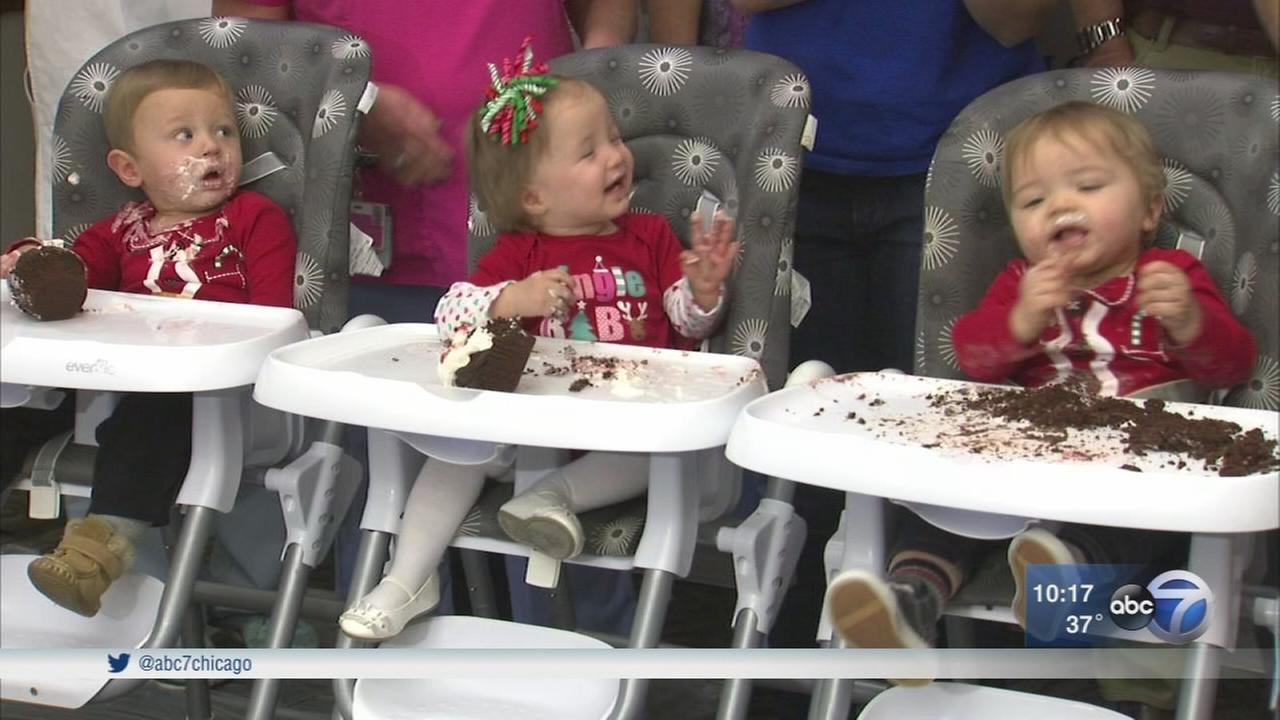 Villa Park triplets reunite with NICU nurses just before 1st birthday