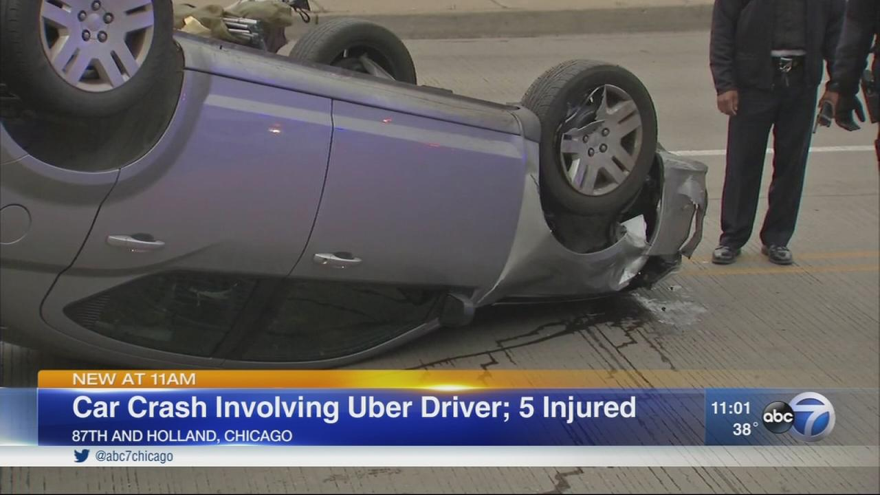 5 injured in crash involving Uber vehicle