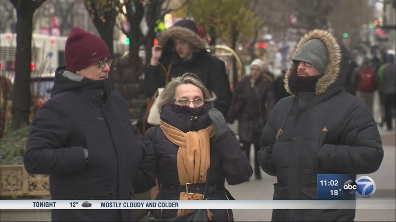 Chicago bundles up on windy Thursday