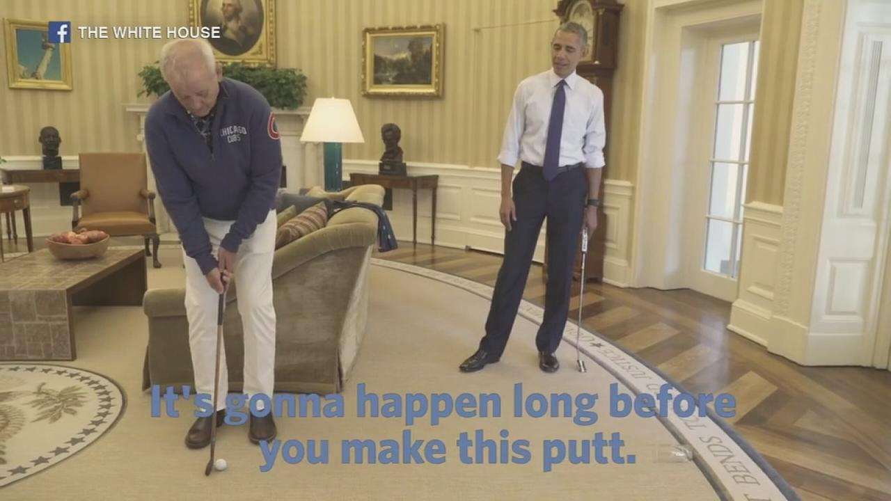 President Obama, Bill Murray golf inside Oval Office