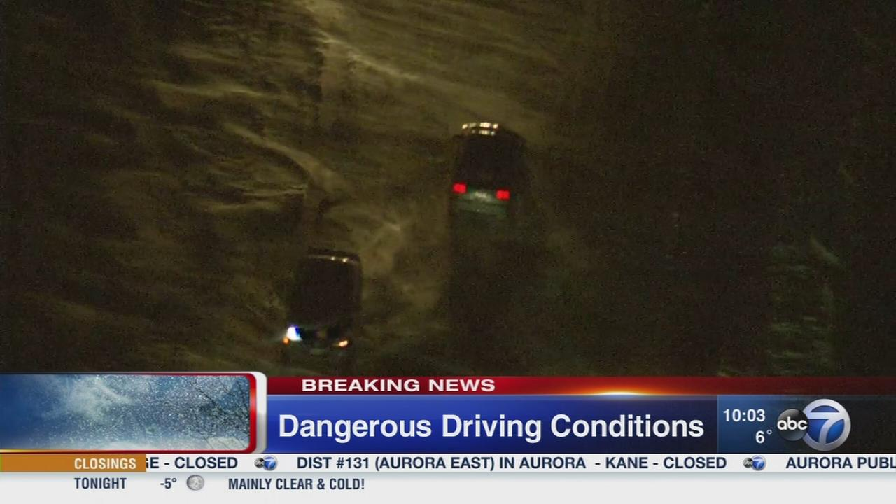 Blowing snow creates dangerous driving conditions