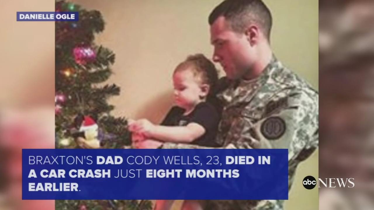 Toddler receives special Christmas gift at fathers gravesite