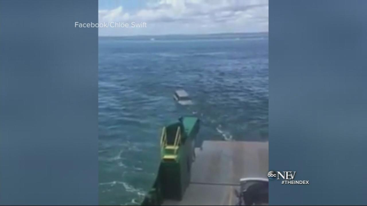 VIDEO: SUV falls off car ferry into ocean