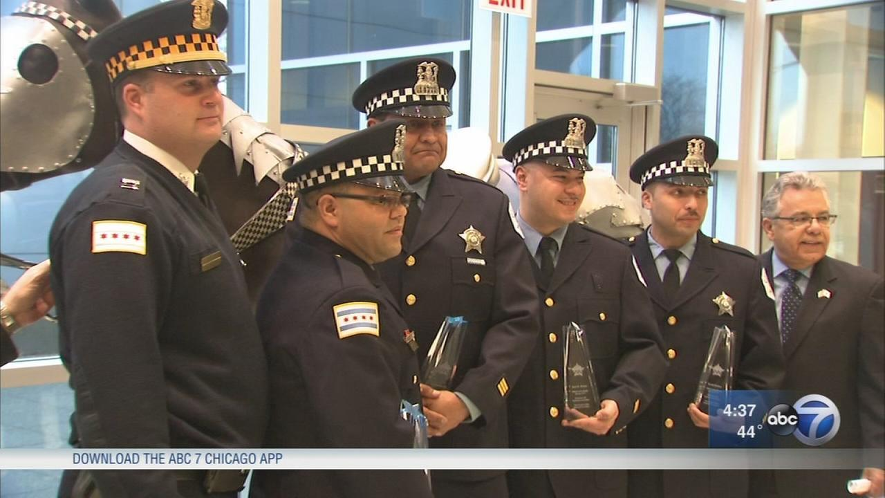Chicago police officers honored for life-saving actions