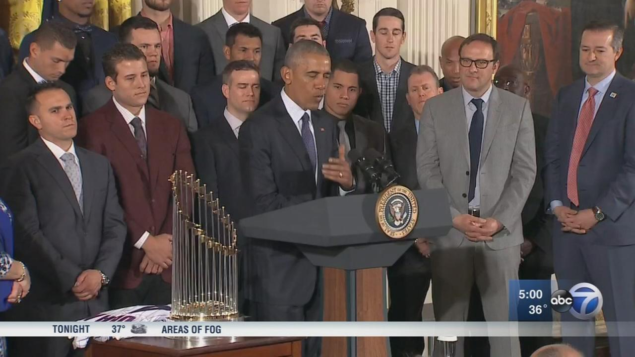 Obama welcomes Chicago Cubs to White House