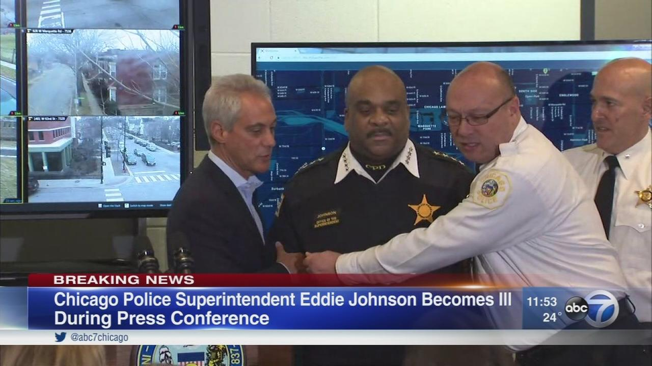 CPD Superintendent Eddie Johnson falls ill at press conference for new technology to prevent violence
