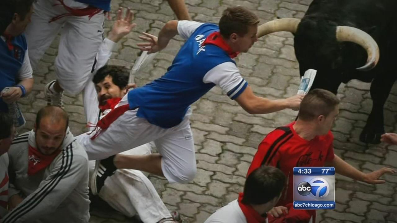 Chicagoan gored in running of the bulls