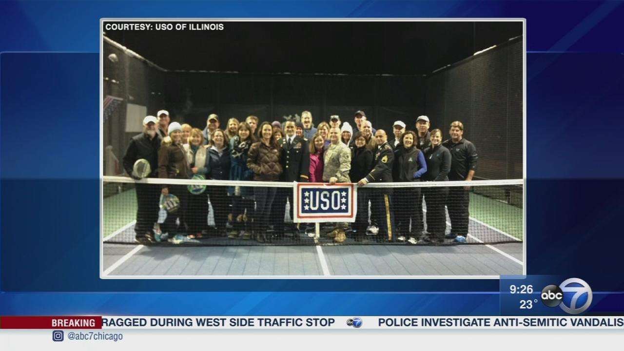 Playing paddle tennis for the USO