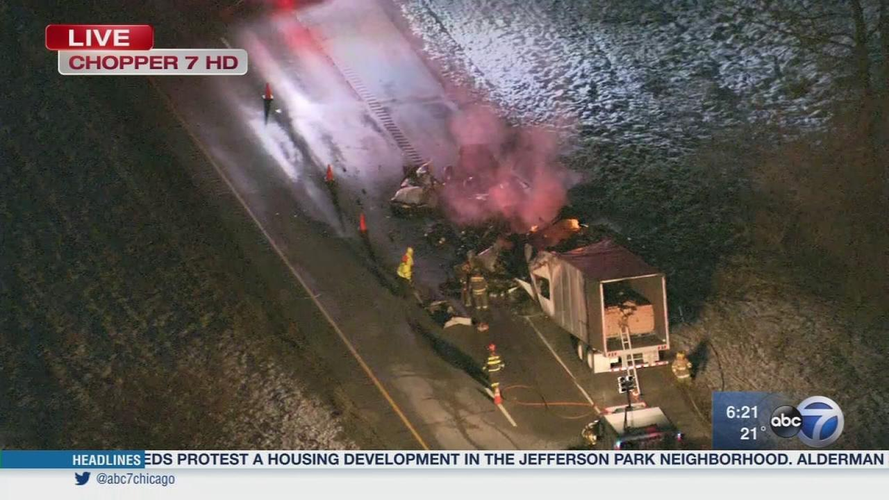 Cereal truck catches fire on I-65