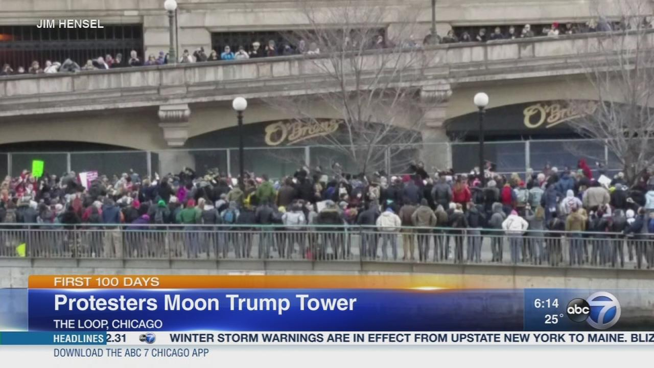 Protesters moon Trump Tower