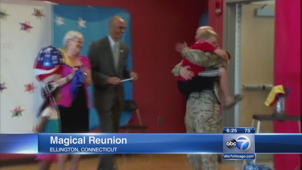 Magician surprises boy with military dad
