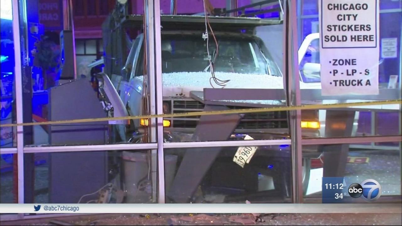 Stolen truck crashes into Currency Exchange