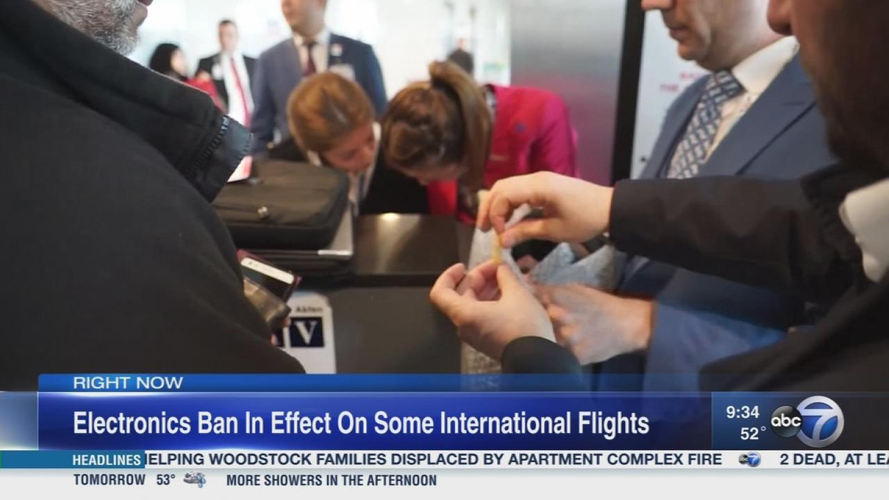 Electronics ban for some international flights now in effect