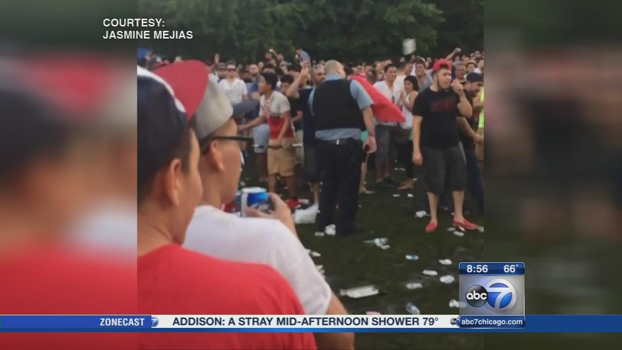 VIDEO: Bottles thrown at officers at Montrose Beach