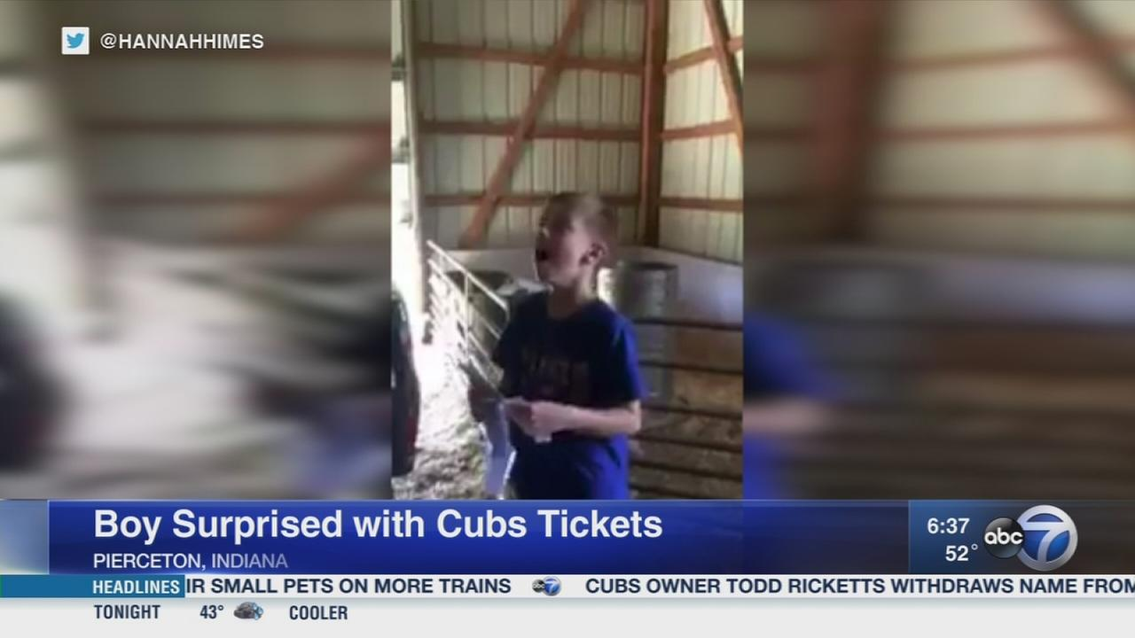 Boy surprised with Cubs tickets