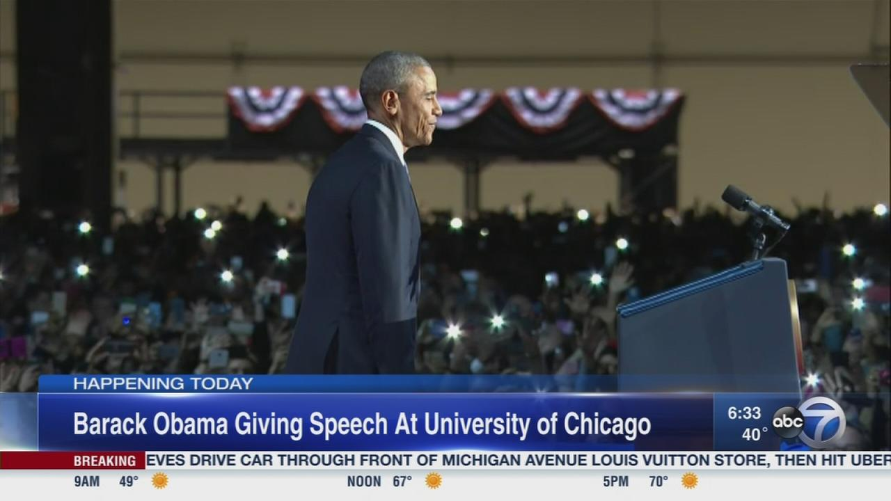 Obama giving speech at U of C