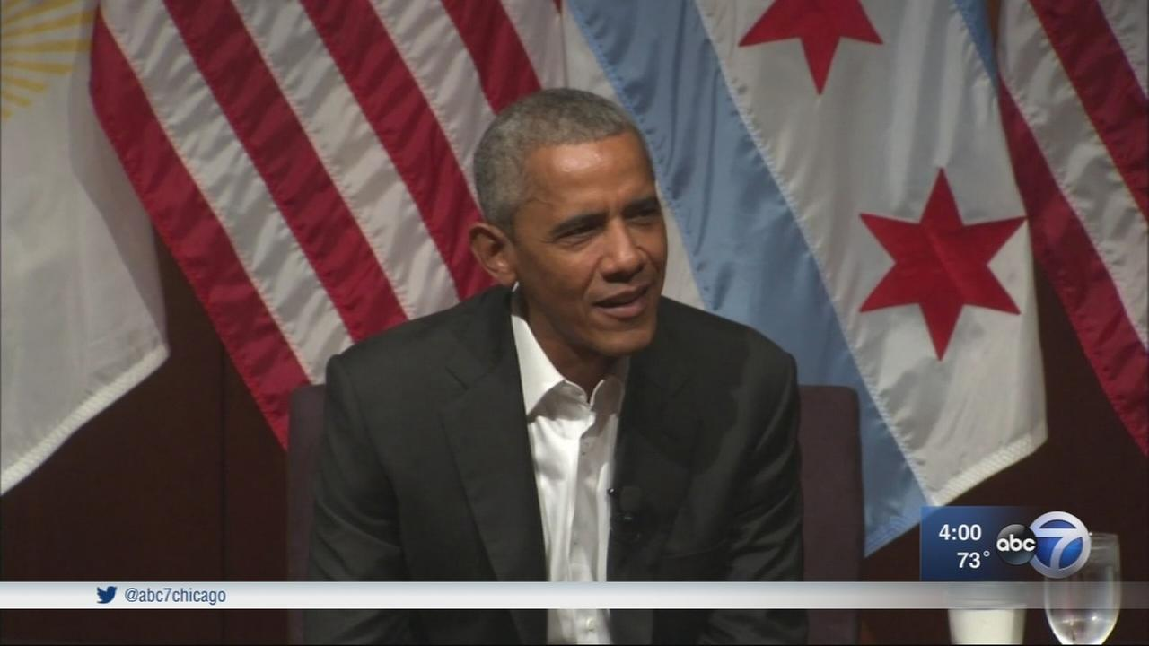 Former President Barack Obama speaks at University of Chicago