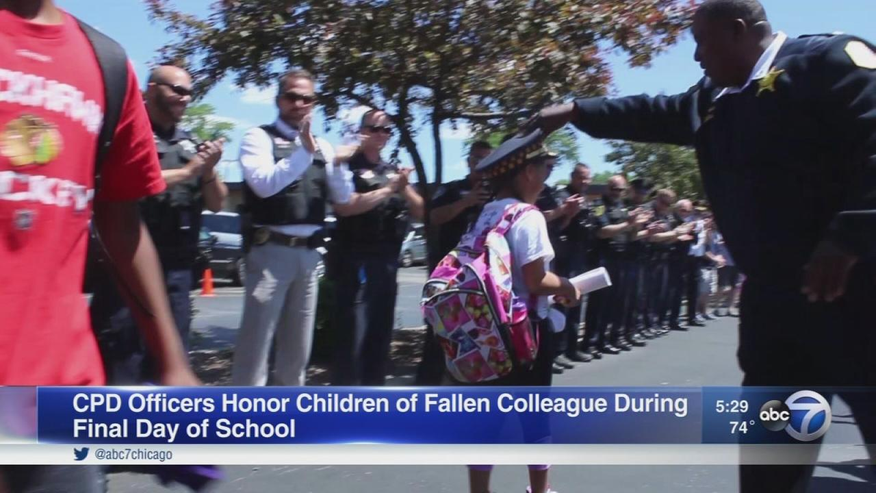 CPD officers honor children of fallen colleague on last day of school