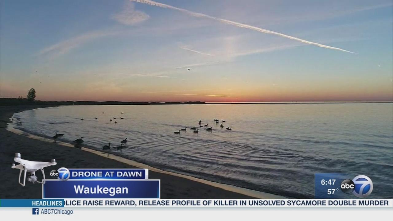 Drone at Dawn over Waukegan