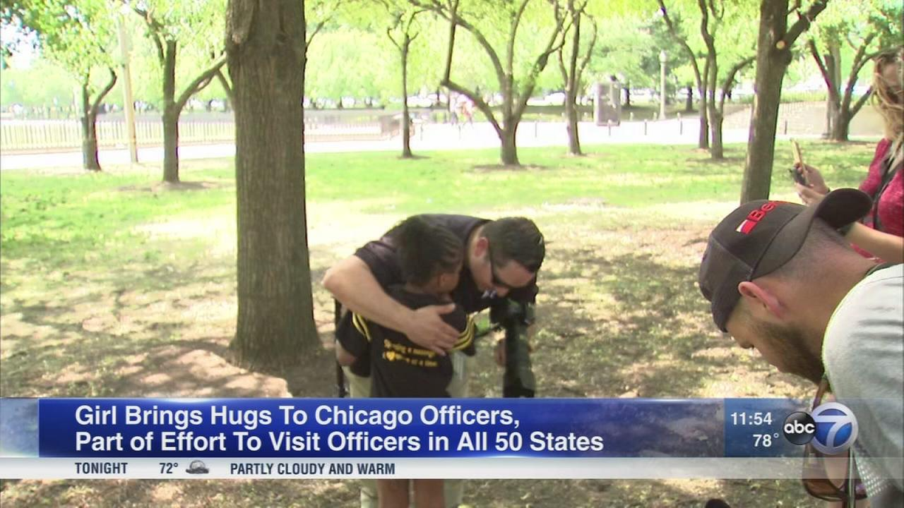 Girl, 7, on mission to hug police officers in all 50 states