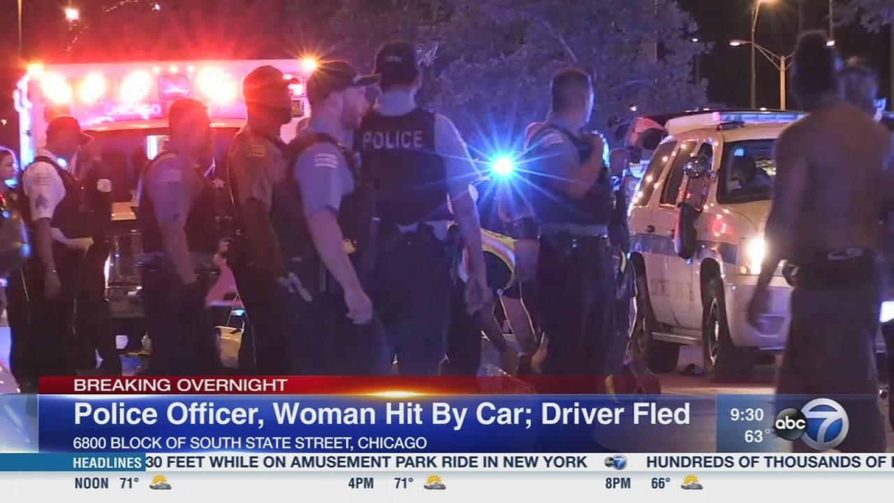 Officer, woman injured in hit-and-run