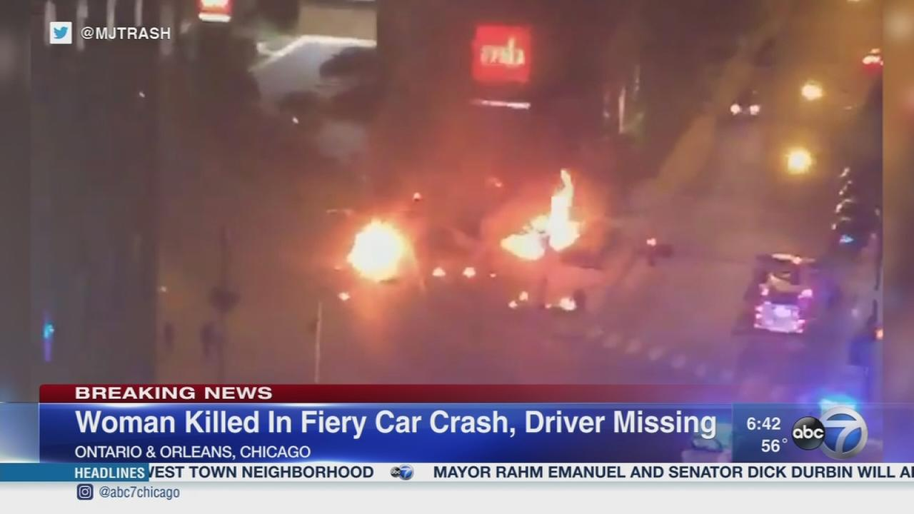Woman killed in fiery River North crash