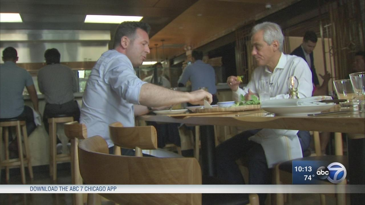 Mayor Emanuel talks, eats with ABC7 Hungry Hound