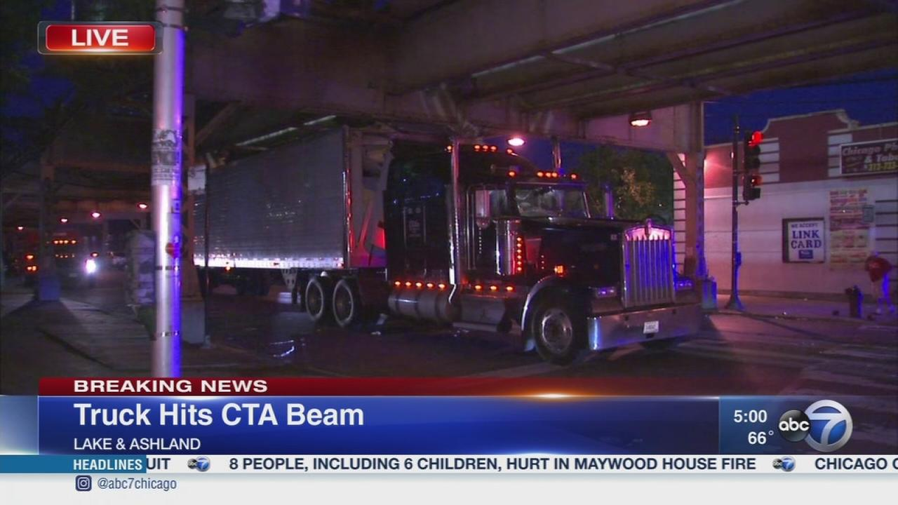 Semi stuck under CTA tracks