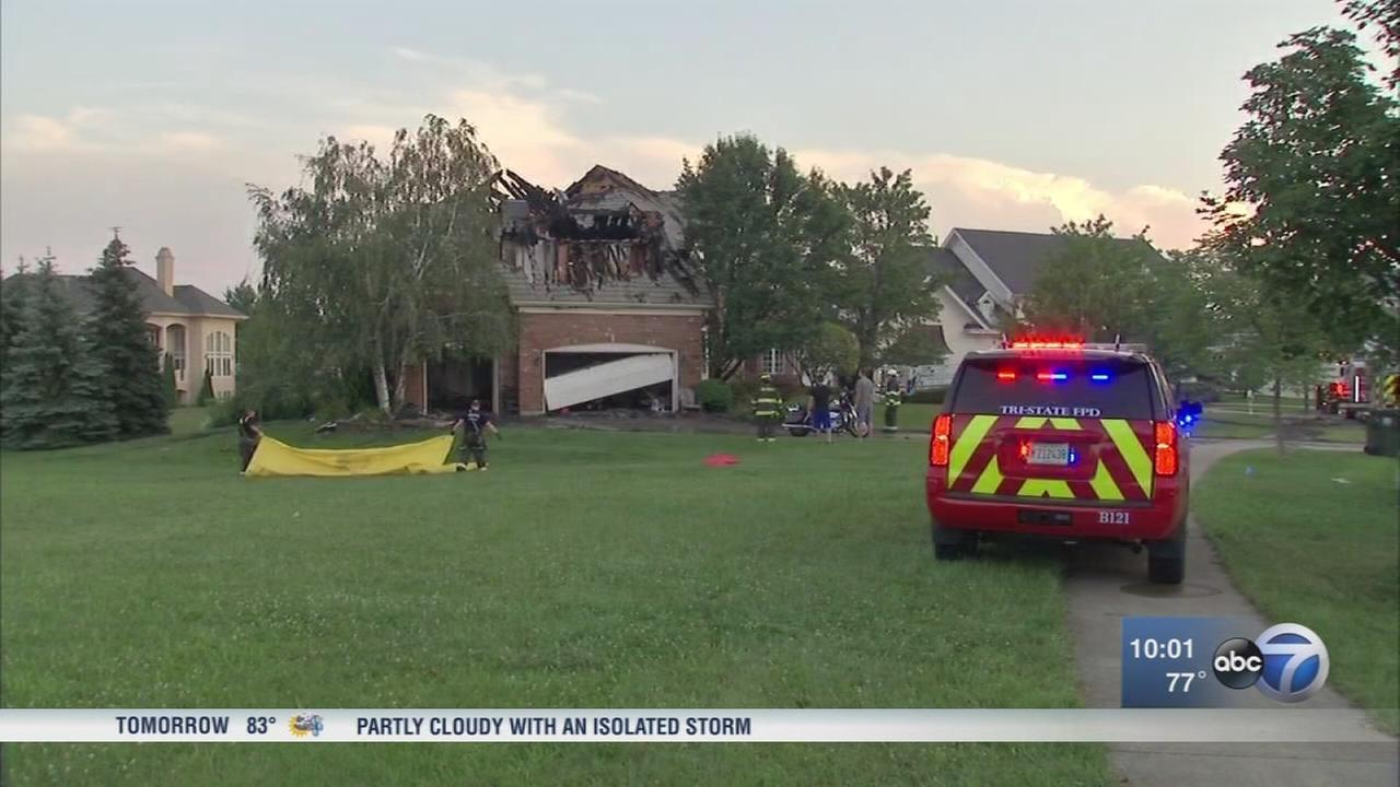 Massive Burr Ridge house fire possibly caused by lightning strike, officials say