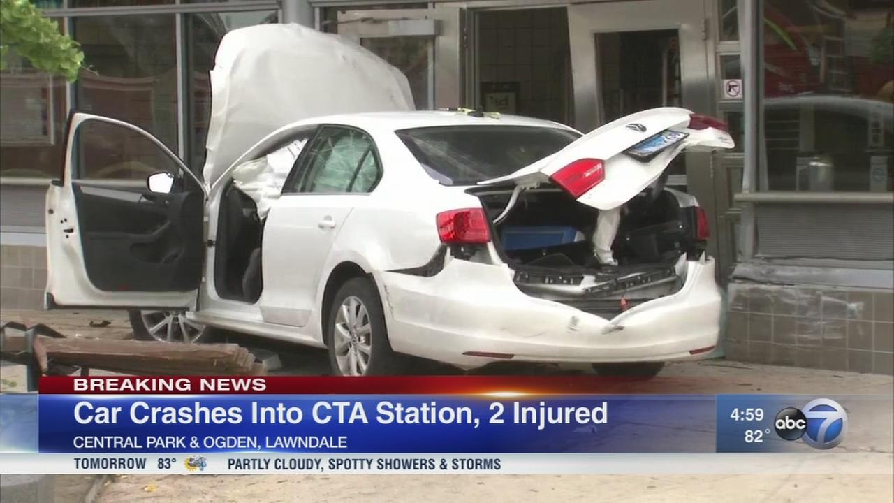 Car crashes into CTA Pink Line station in North Lawndale