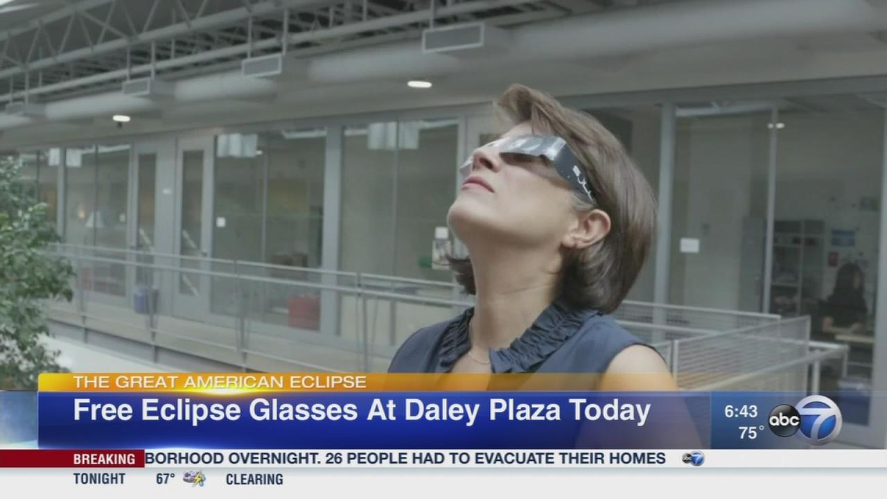 Free eclipse glasses at Daley Plaza